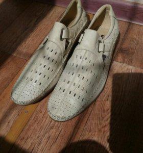 Мокасины бежевые/мужские летние туфли/мужская обув
