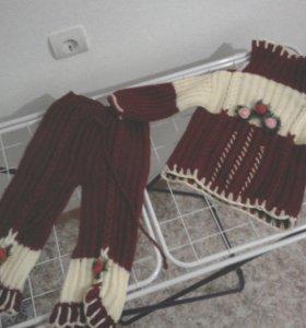 Теплый вязаный костюм на 2-3 года