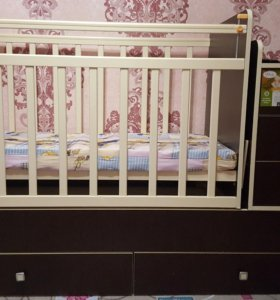 Срочно детская кроватка-трансформер+матрасик