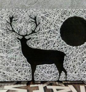 """Интерьерное панно """"Олень"""" (string art)"""