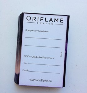 Визитки oriflame