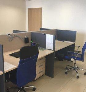 Офисная мебель 6 столов+ 6 тумбочек