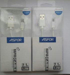 Зарядка USB кабель Aspor на телефоны и планшеты