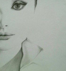 Картина. Портрет Одри Хепбёрн.
