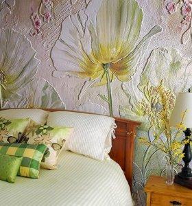 Барельеф на стене, настенная роспись и др.художественные работы.