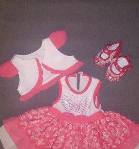 Платье+болеро+пинетки