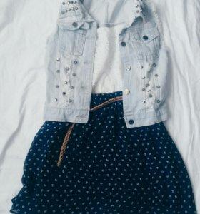 Платье /джинсовая жилетка