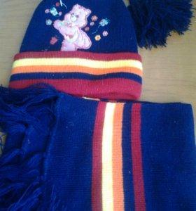 Комплект детский шапка двойная+шарф (новый)