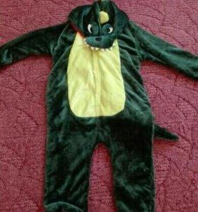 Костюм динозавра детский новый теплая пижама