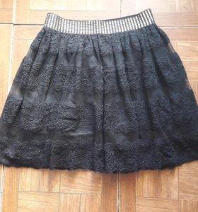Юбка кружевная чёрная