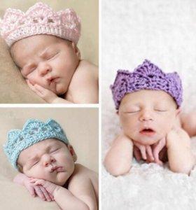 3 Вязаные короны -повязка для малышей, новорожденных. Цена за 3 шт.