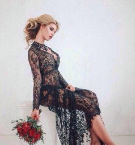 Новое кружевное платье в пол