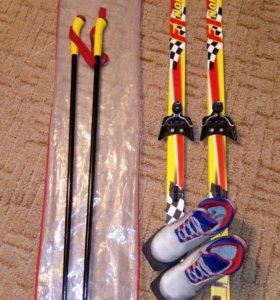Лыжи детские 140+ ботинки 33 размер + палки+ чехол