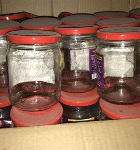 три пакета 500 грамовых банок  крышка винтовая