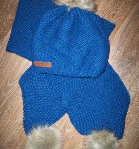 Новый набор -утепленная флисом шапочка+шарф