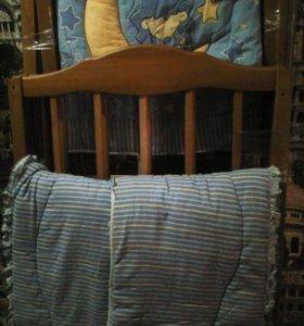 Детская кроватка с ортопедическим матрасом и бортиками
