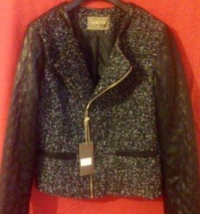 Курточка комбинированная(Кожа,тканевые рукава)