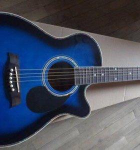 Синяя гитара Джамбо с вырезом