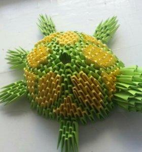 Черепаха из модульного оригами.