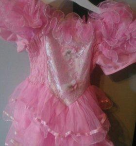 Платье на маленьких принцесс. Розовое. 62-80