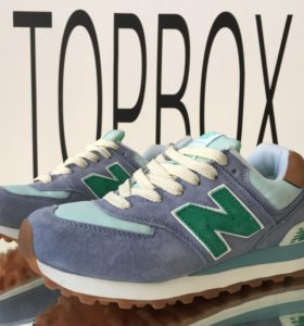 New Balance 574 blue with turquoise