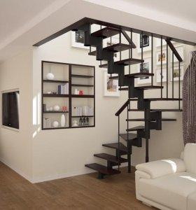 Лестница на металлическом каркасе, поворот 180 гр