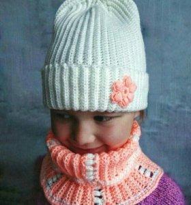 Вязаная шапка, осенняя, полушерсть, детская