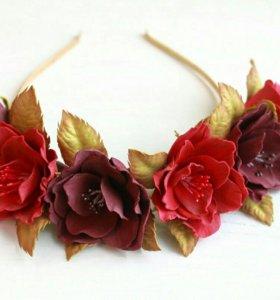 Украшение для волос Ободок с цветами из фоамирана