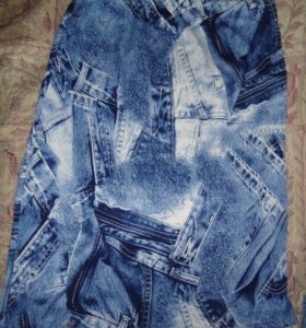 Юбка с джинсовым принтом