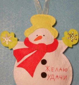 Снеговик из фетра - новогодняя игрушка на елку