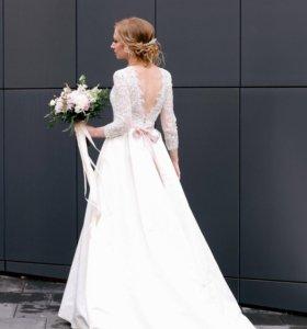 Элегантное свадебное платье Айвори со шлейфом+бону