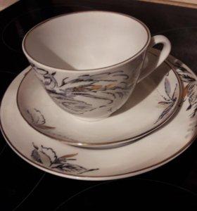 чайная пара с тарелкой