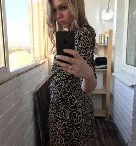 Платье в леопардовый принт S/M