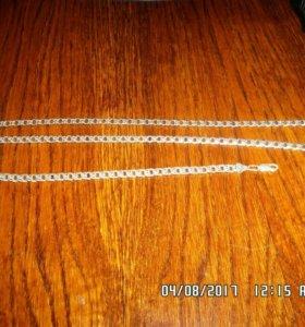 Набор серебро:браслет и цепь