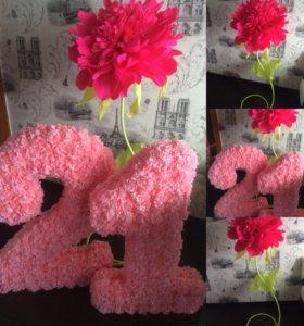 На заказ объёмные цифры и ростовые цветы!!!