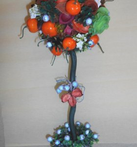 """топиарий из сухоцветов """"Мандариновое деревце"""" высота 49 см"""