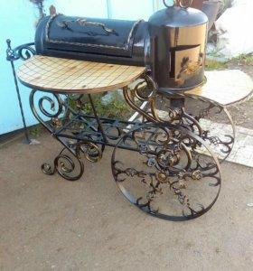 Мангал с складным столиком и печка под казан