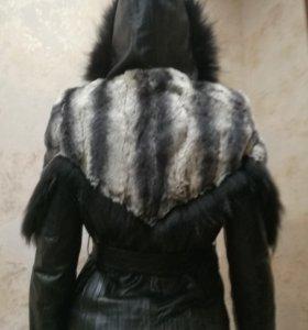 Кожаная куртка (чернобурка + шиншила)