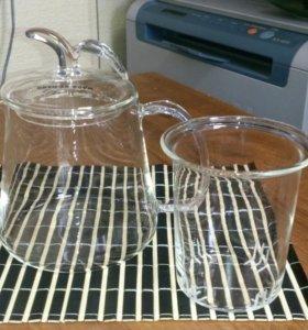 Чайник стеклянный с заварочной колбой 600 мл
