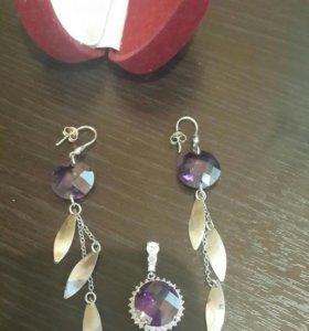 Серебряные серьги и кулон с фианитами 925 по