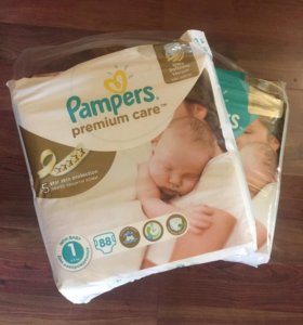2 ПАЧКИ- Pampers Premium Care 1 (2-5 кг) 88 шт