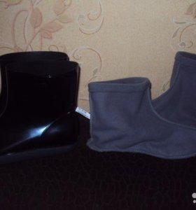 Новые сапоги и резиновые ботиночки