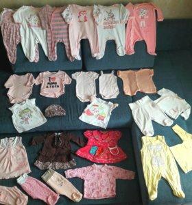 пакет детских вещей на девочку 56-62 размер