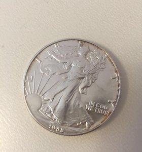 Монета 1 доллар 1988 год, шагающая свобода(MDM)