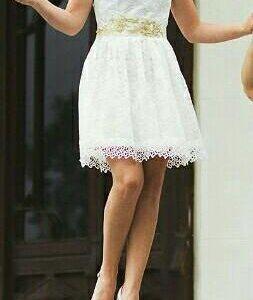 Платье белое с красивым поясом,44р,турция