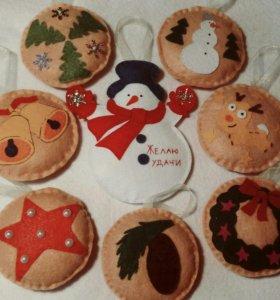 Набор новогодних игрушек из фетка на елку