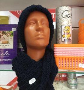 Вязаная женская шапка и шарф