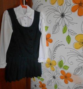 школьный сарафан вместе с блузой