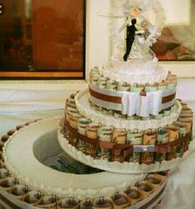 Денежные и сладкие торты на свадьбу, юбилей.