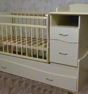 Кровать трансформер с пеленальным столиком